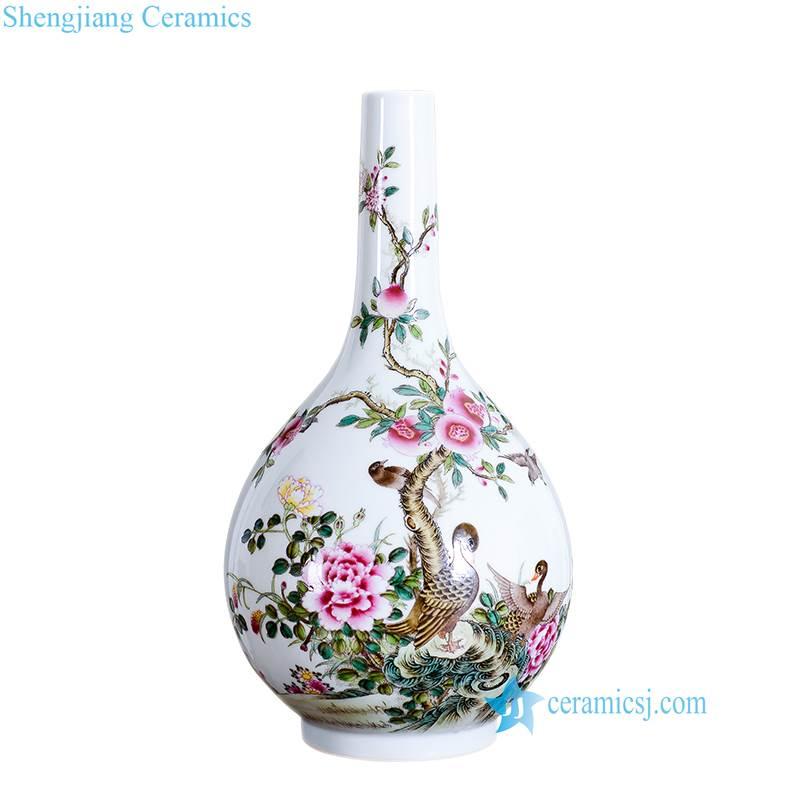 wild duck plants porcelain vase