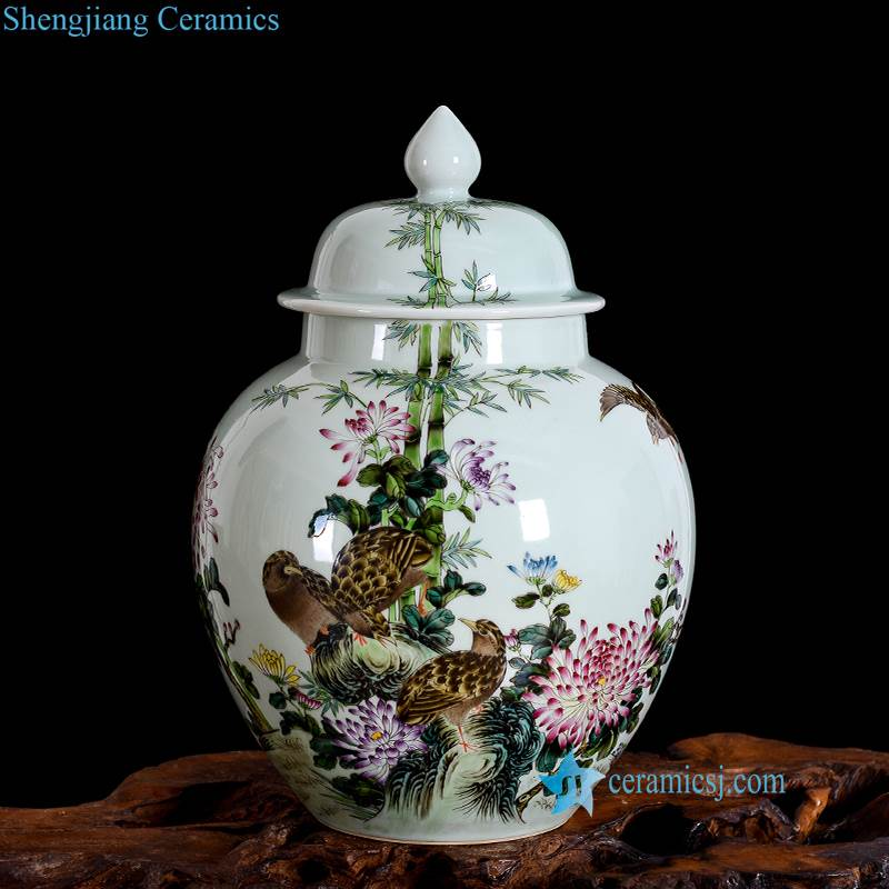 bird flower colorful porcelain vase with lid