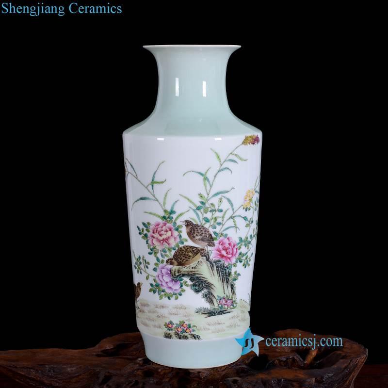 flower bird flat vase