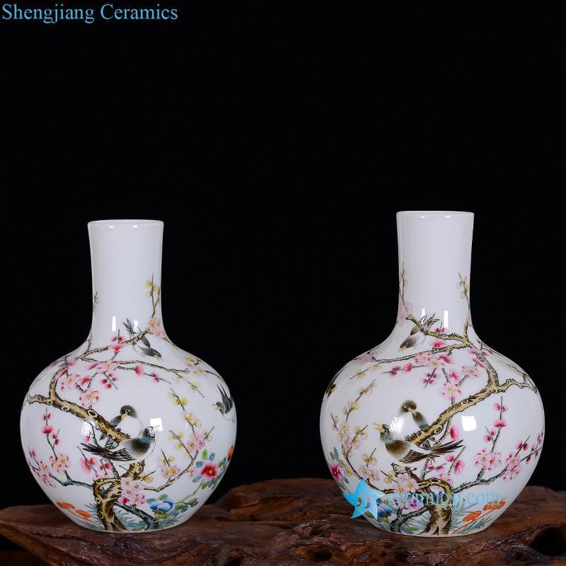 bulbous pink flower porcelain vase