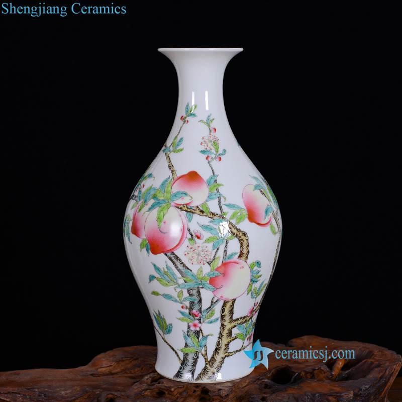 hand paint peach porcelain vase