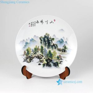 pukoo-001-A Beautiful landscape round ceramic exhibition plate
