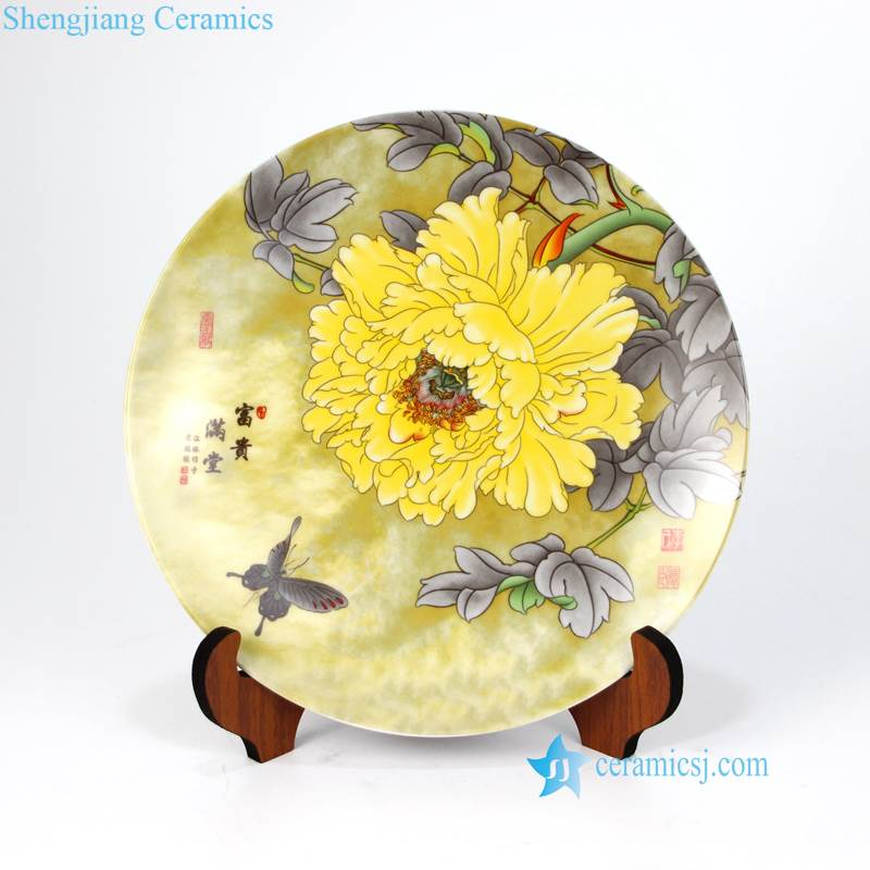 pukoo-001-C Autumn chrysanthemum with butterfly pattern ceramic home decoration plate