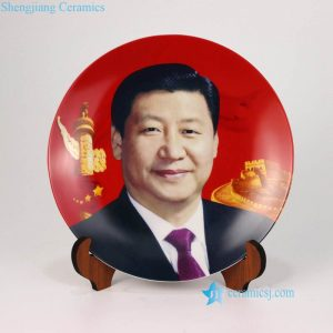 pukoo-001-D China president Xi profile pattern respecting ceramic plate