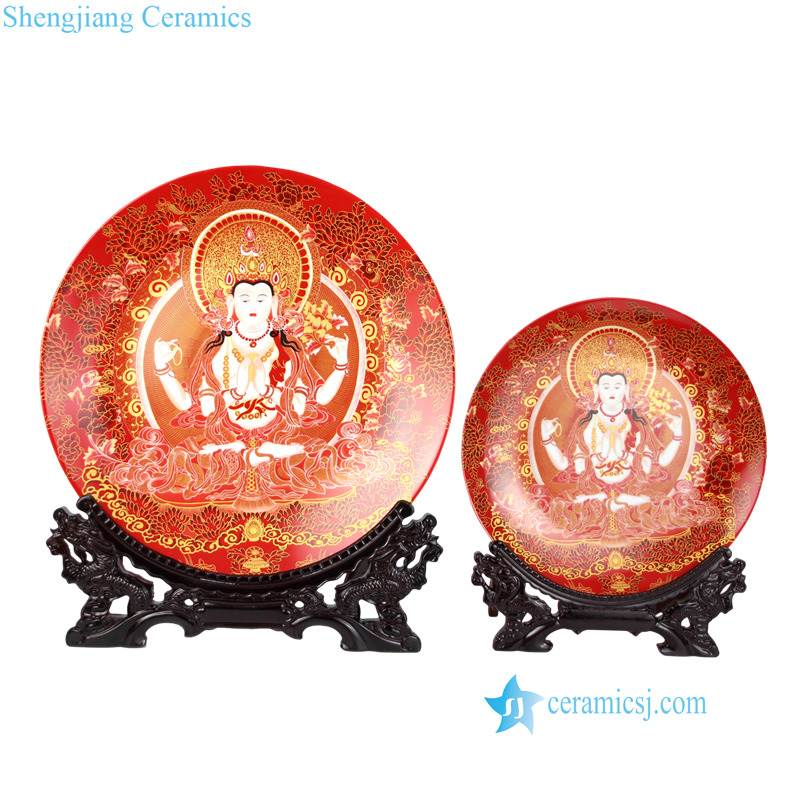 pukoo-002-A/B Thangka design the Zang or Tibetan nationality religion pattern ceramic deco plates