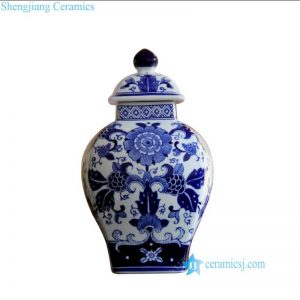 RYPU47 Chrysanthemum pattern ceramic blue and white jar