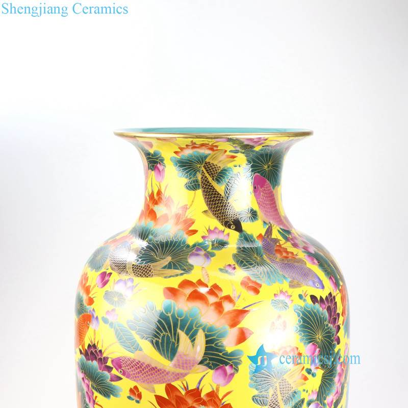 RYRK24-26 Fish lotus pond printed pattern porcelain hotel decor ceramic vase