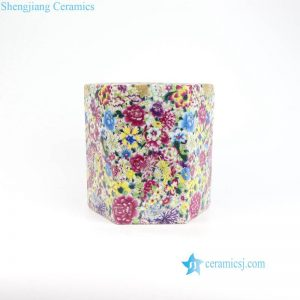 RYRK31 Six sides hundreds flower pattern ceramic pen holder