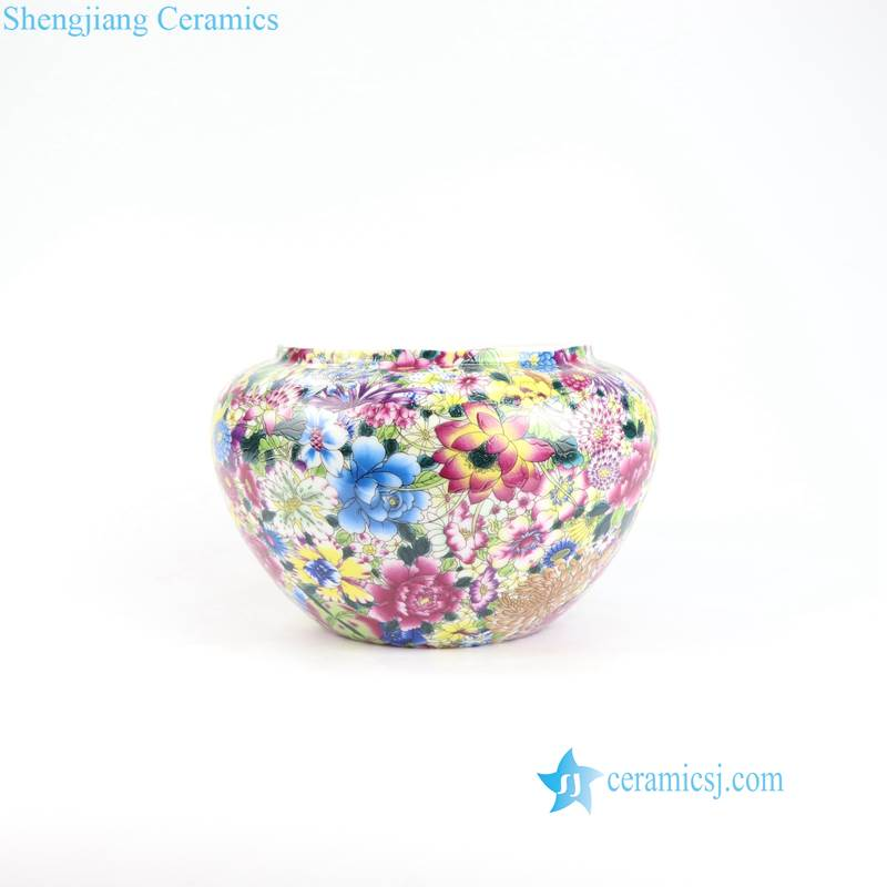 many flower porcelain pot