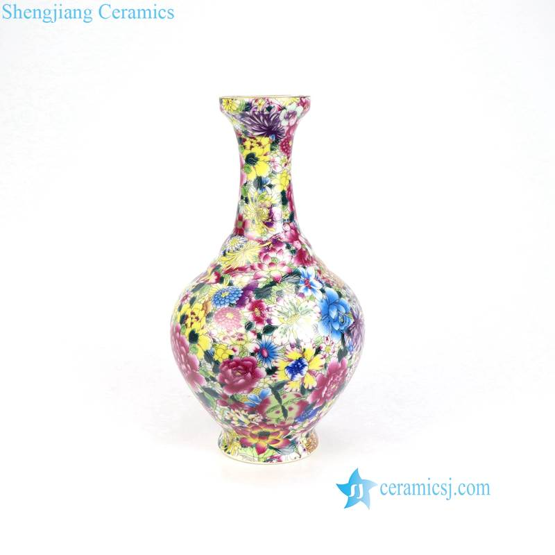 colorful floral porcelain vase