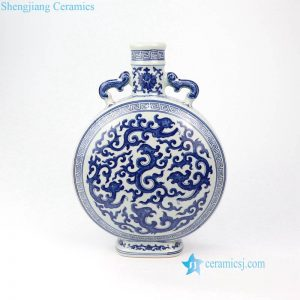 RYUU16-B Dragon pattern round moon shape Jingdezhen imperial kiln porcelain vase