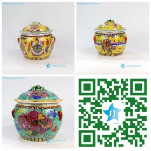 RYZG11-A/B/C Bright yellow hand painted famille rose porcelain jar