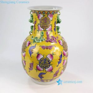 RYZG12-A Royal Chinese yellow longevity peach and bat pattern hand painted ceramic vase