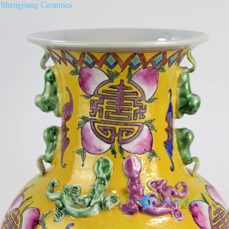 RYZG12-A Royal Chinese yellow longevity peach and bat pattern hand painted ceramic vase