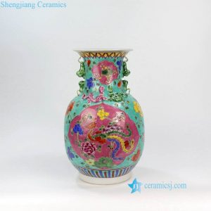 RYZG12-B Qing Dynasty phoenix floral pattern hand painted reproduction porcelain vase