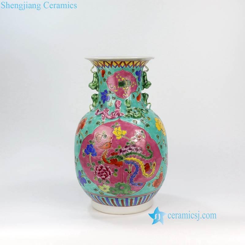 green famille rose vase