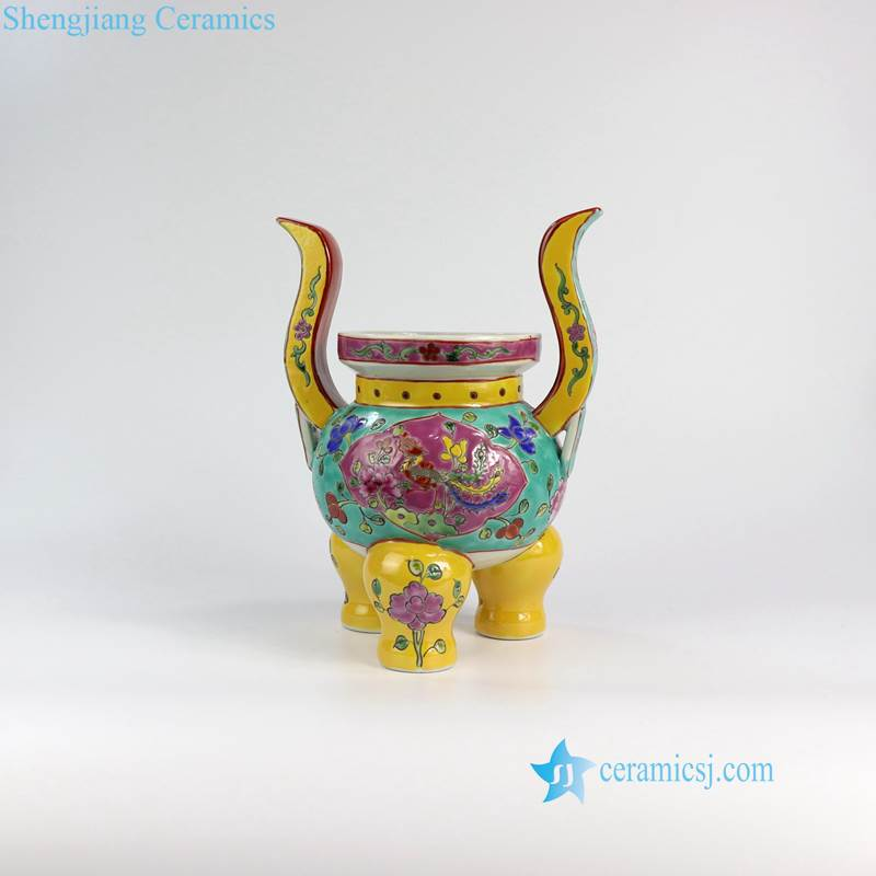 RYZG17 Set of 5 worship Buddha usage famille rose porcelain reproduction vase. candle holder and tripod