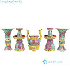 RYZG17 Set of 5 worship Buddha usage famille rose porcelain reproduction vase. candle holder and tripod