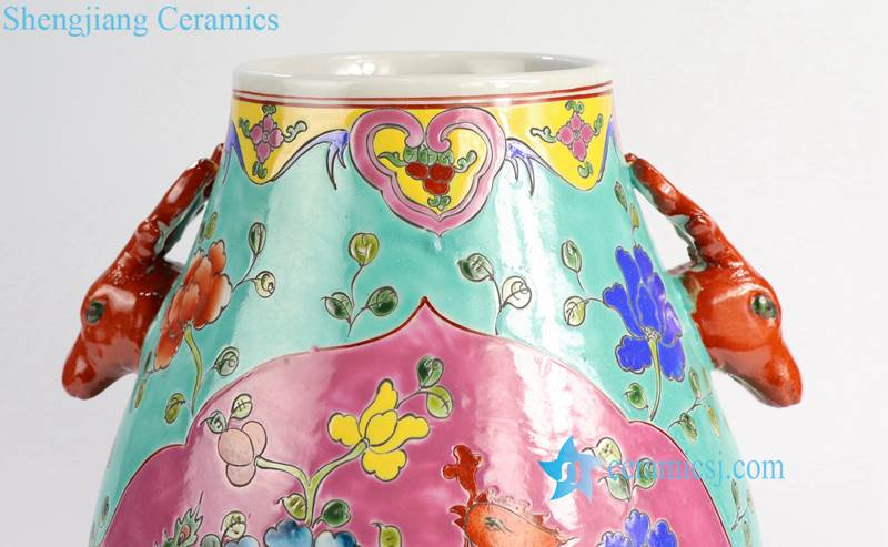 RYZG20 Hand painted green and red famille rose phoenix ceramic flower vase