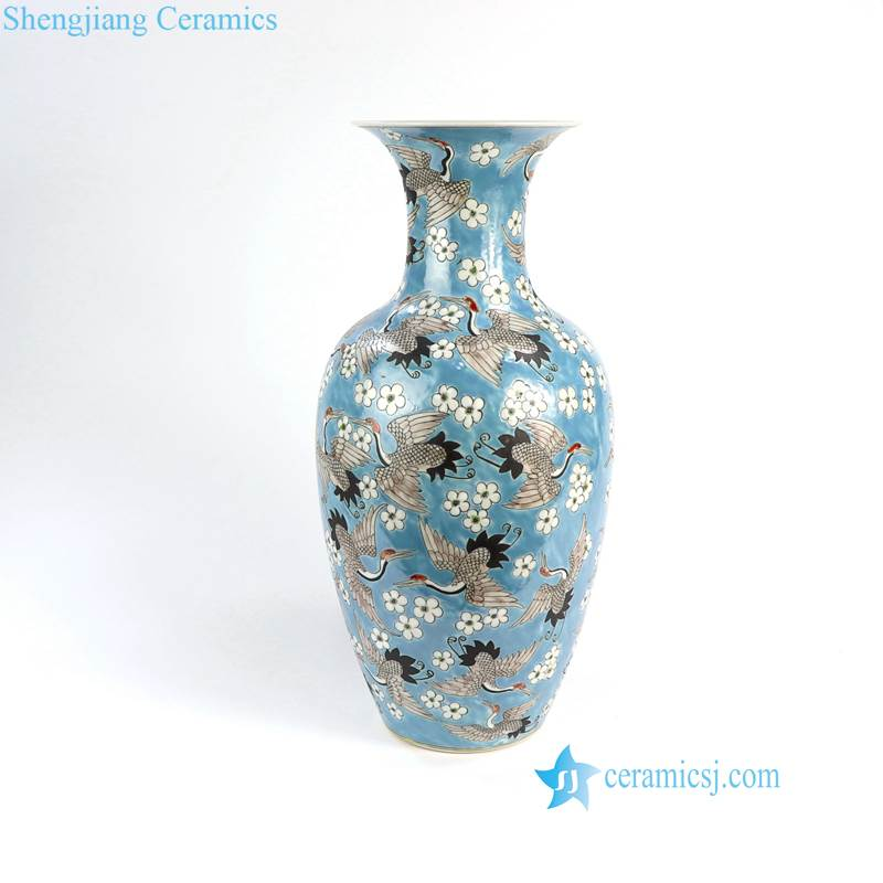 RZFA03 Chinese Qing Dynasty Kangxi emperor style reproduct hand paint crane porcelain vase