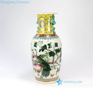 RZFA04 China royal style hand painted luxury peacock pattern porcelain vase