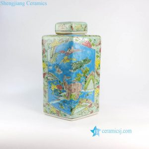 RZFA06-a Hand paint blue and green famille rose square China royal household porcelain jar with elephant and lion design