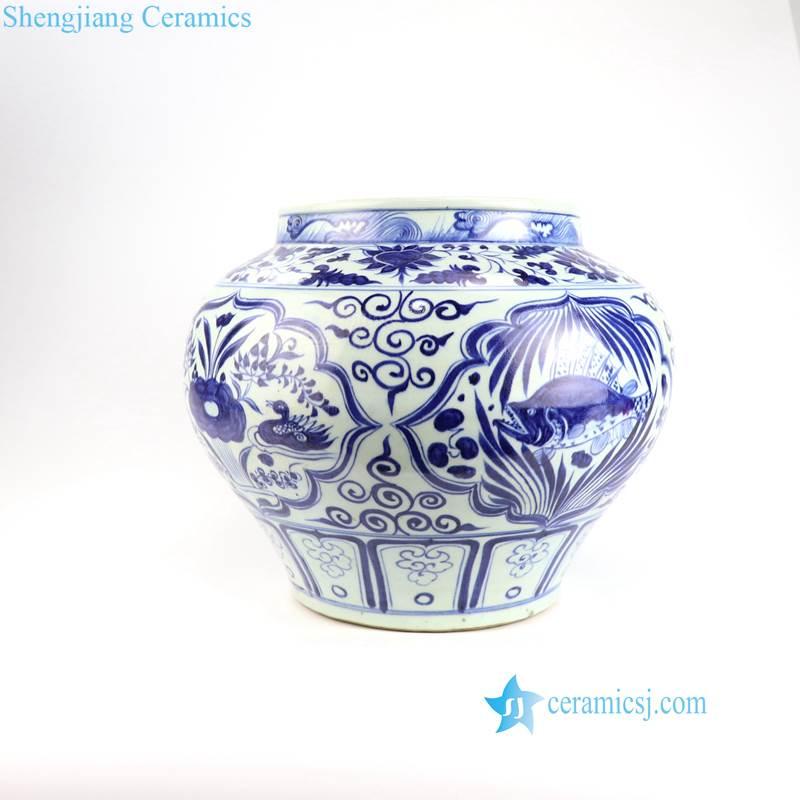 duck fish pattern porcelain pot