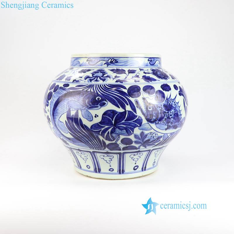 RZLQ03-14 RZNI01 Round shoulder blue and white red Yuan Dynasty hand painted auction style porcelain pot