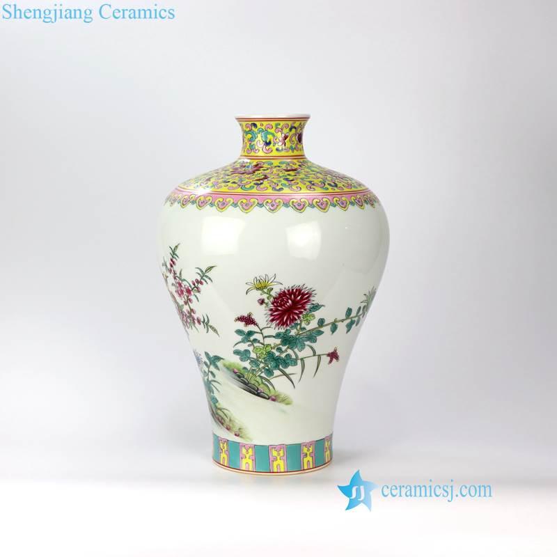bird flower famille rose vase
