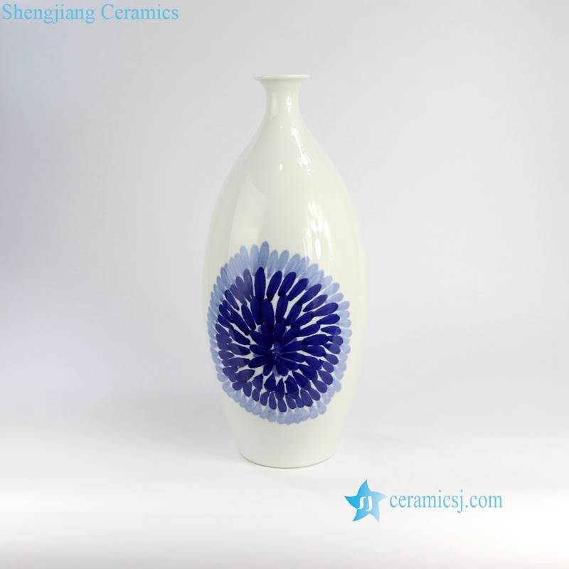 RZNG01-04 Hand painted blue and white modern hotel decoration leaf and floral ceramic vase