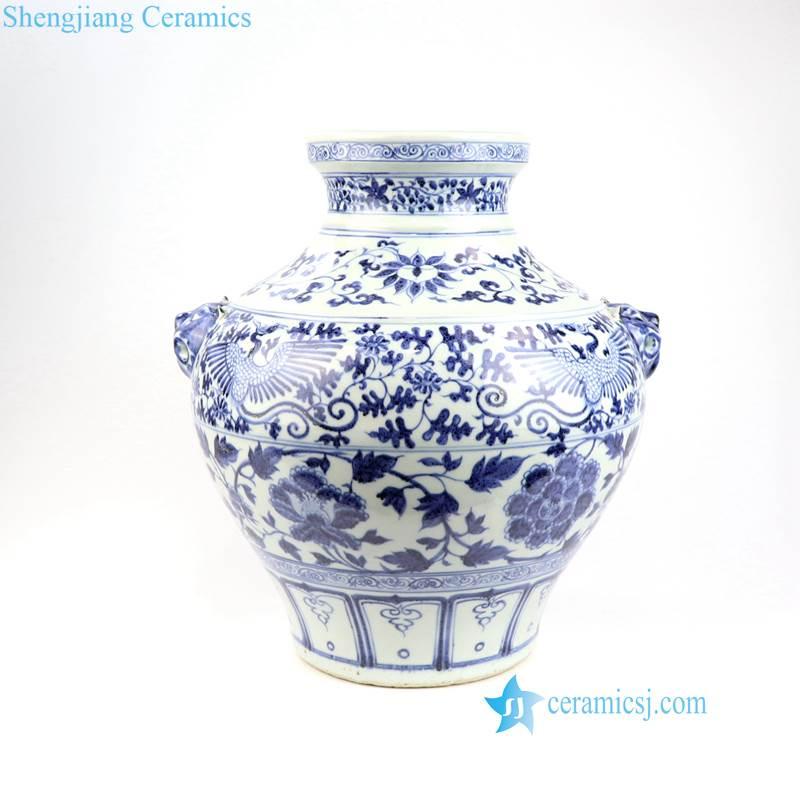 floral phoenix ceramic jar