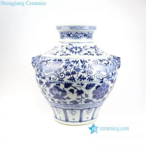 RZNI03 Dog knob hand painted Ming Dynasty reproduction ancient floral phoenix porcelain vase