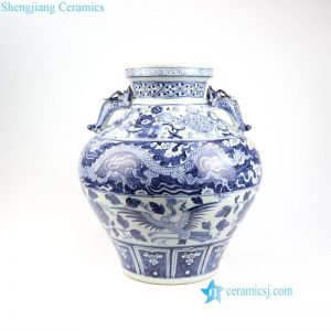 RZNI04 Ming Dynasty reproduction antique dragon phoenix Chinese totem porcelain vase