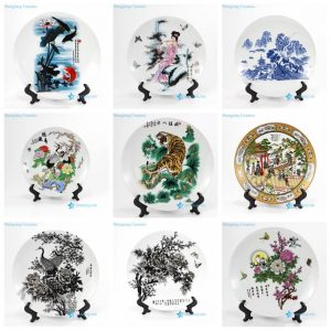pukoo-001-M-V China style home decoration lucky rich harmony implied meaning pattern porcelain plate