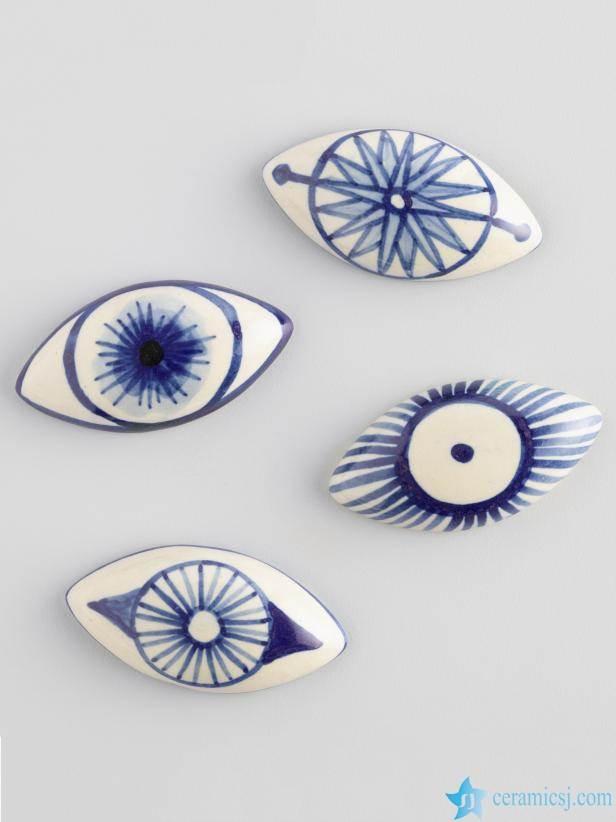 blue and white ceramic beads