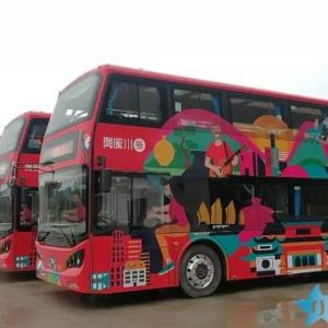 Double-decker Bus Runs in Jingdezhen