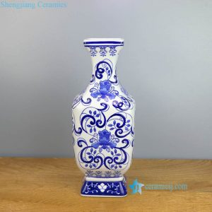 RYPU48 Blue and white floral rectangular porcelain vase