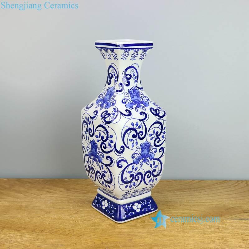 floral rectangular porcelain vase