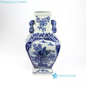 RYUK32 China auction landscape blue porcelain vase
