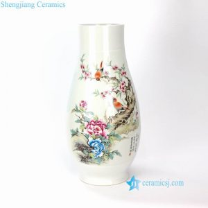 RYXD09 High end Jingdezhen artisan hand made bird floral vase