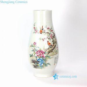 RYXD09 High end Jingdezhen artisan hand made bird floral vase