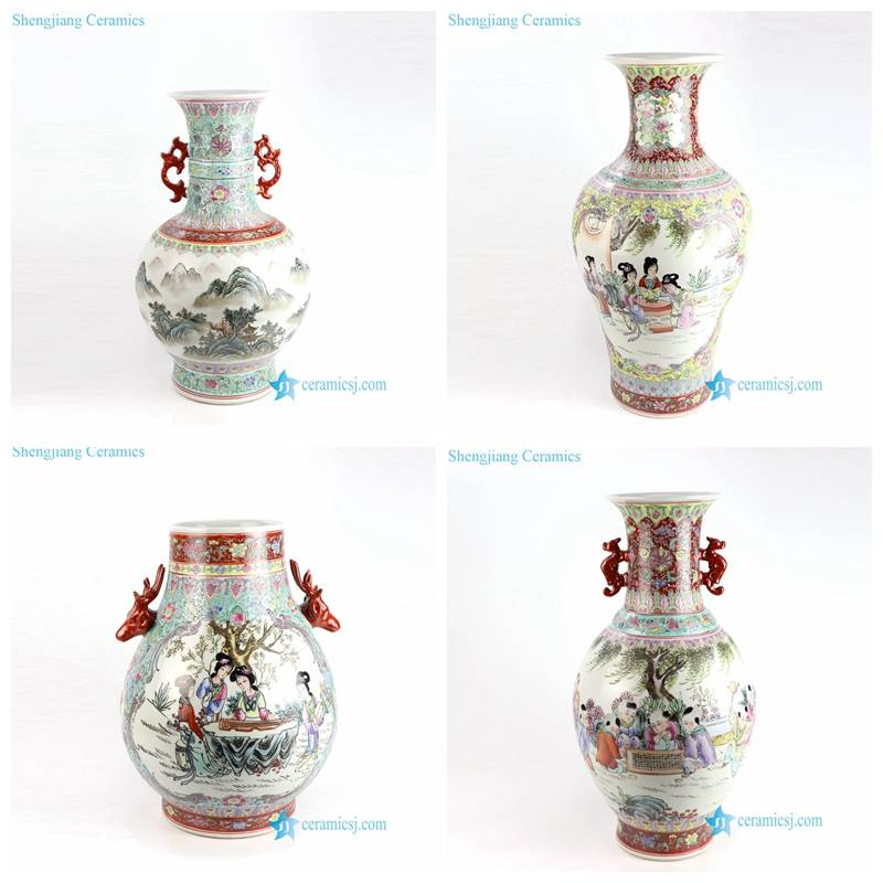 red famille rose porcelain vase with ears