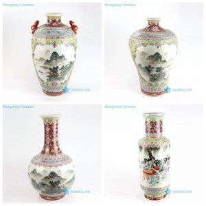 RZAI07-10 Qing Dynasty famille rose landscape and lady kid ceramic vase