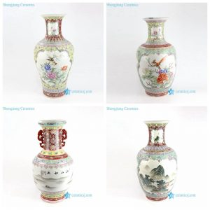 RZAI12-15 Qing Dynasty hand draft natural bird flower view porcelain vase