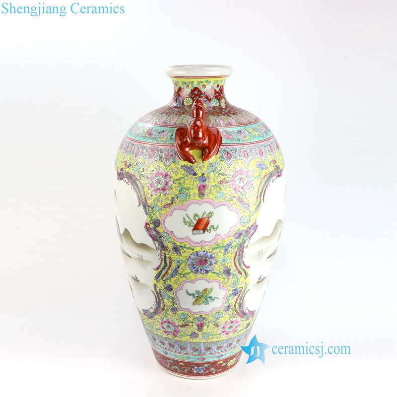 antique vase with red handle