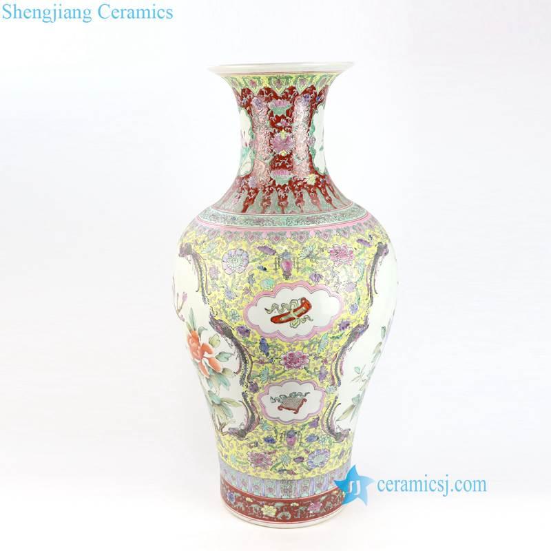 bird floral porcelain vase