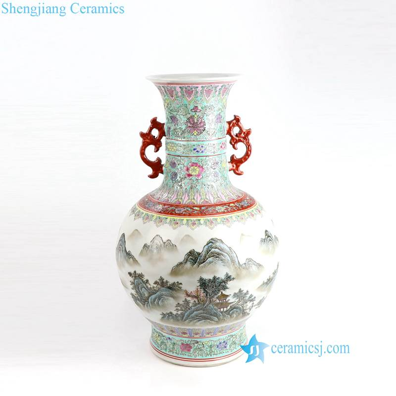 mountain porcelain vase with dragon handles
