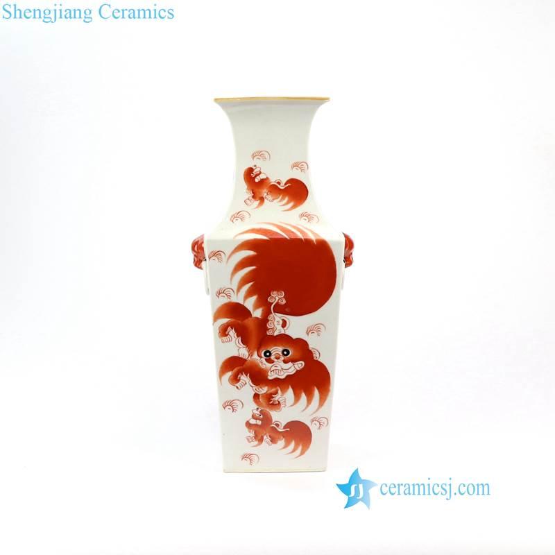 ceramic lion vase