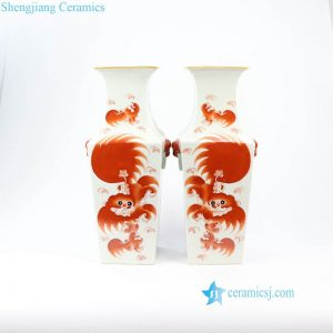 RZIH05 Hand craft red ceramic lion vase
