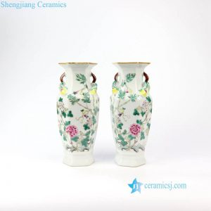 RZIH07 Jingdezhen Qing Dynasty famille rose antique calabash and floral porcelain vase